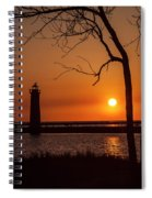 Sunset At The Lighthouse In Muskegon Michigan Spiral Notebook