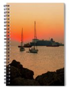 Sunset, Boats And Sea Spiral Notebook