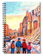 Sunset On Hotel De Ville Street Montreal Spiral Notebook