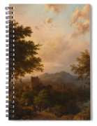 Sunset On The Rhine , Barend Cornelis Koekkoek Spiral Notebook