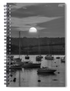Sunset Over Salem Harbor Salem Beverly Bridge Black And White Spiral Notebook