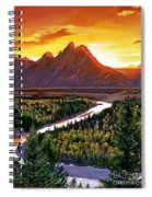 Sunset Over The Grand Tetons Spiral Notebook