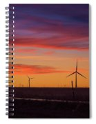 Sunset Over Windmills Field Spiral Notebook