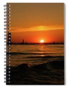 Sunset Silhouettes At Grand Haven Michigan Spiral Notebook
