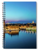 Sunset To Blue Hour Panorama Over Gamla Stan In Stockholm Spiral Notebook