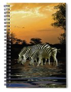 Sunset Zebras At The Watering Hole Spiral Notebook