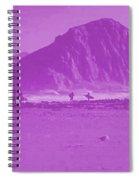 Surfers On Morro Rock Beach In Purple Spiral Notebook