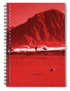 Surfers On Morro Rock Beach In Red Spiral Notebook