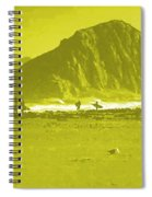Surfers On Morro Rock Beach In Yellow Spiral Notebook
