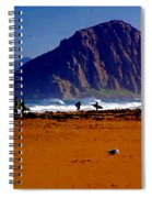 Surfers On Morro Rock Beach Spiral Notebook