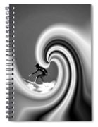 Surfing The Pacific In Black And White Spiral Notebook