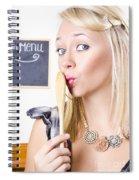 Surprised Female Kitchen Cook Hiding Secret Recipe Spiral Notebook