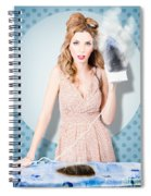 Surprised Housewife With Burnt Out Ironing Board Spiral Notebook