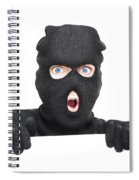 Surprised Robber Holding Blank Security Sign Spiral Notebook