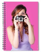 Surprised Woman Taking Picture With Old Camera Spiral Notebook