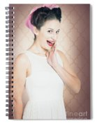 Surprised Woman With Brunette Hair And Red Lips Spiral Notebook