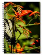Swallowtail Hanging On The Crocosmia Spiral Notebook