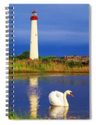 Swan At The Lighthouse Spiral Notebook