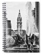 Swann Memorial Fountain In Black And White Spiral Notebook