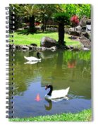 Swans And Gold Fish Spiral Notebook