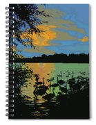 Swans At Sunset Spiral Notebook