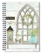 Sweet Life Farmhouse 3 Gothic Window Lantern Floral Shiplap Wood Spiral Notebook