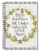 Sweet Life Farmhouse 4 Laurel Leaf Wreath Bee Bless This Food Spiral Notebook