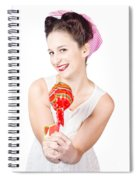 Sweet Lolly Shop Lady Offering Over Red Lollipop Spiral Notebook