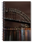 Sydney Harbor At Night With Train Spiral Notebook