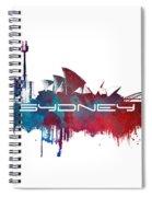 Sydney Skyline City Blue Spiral Notebook