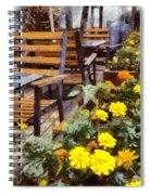 Tables And Chairs With Flowers Spiral Notebook