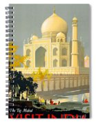 Taj Mahal Visit India Vintage Travel Poster Restored Spiral Notebook