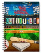 Take Me Out To The Ballgame Recycled Vintage License Plate Art Collage Spiral Notebook