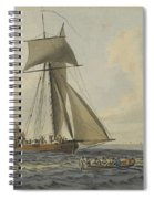 Taking Crew To An English Frigate Near The Needles Isle Of Wight By Robert Cleveley Spiral Notebook