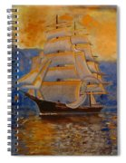 Tall Ship In The Sunset Spiral Notebook