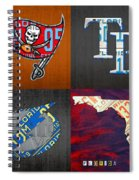Tampa Bay Sports Fan Recycled Vintage Florida License Plate Art Bucs Rays Lightning Plus State Map Spiral Notebook