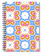 Tangerine And Sky Floral Pattern- Art By Linda Woods Spiral Notebook