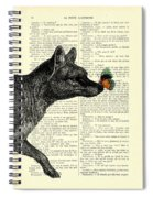 Tasmanian Tiger And Orange Butterfly Antique Illustration On Dictionary Page Spiral Notebook