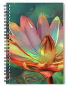 Teal And Peach Waterlilies Spiral Notebook