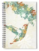 Floral Hummingbird Art Spiral Notebook