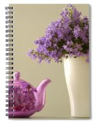 Teapot And Flowers In A Vase Spiral Notebook