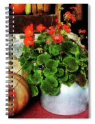 Teapot Filled With Geraniums Spiral Notebook