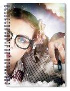 Technology Smart Woman Using Cloud Computing Spiral Notebook