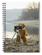 Teddy Bear Taking Pictures With An Old Camera By The Riverside Spiral Notebook