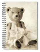 Teddy With Daffodils - Toned Spiral Notebook