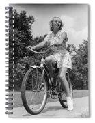 Teeng Girl Riding Bike On Sidewalk Spiral Notebook