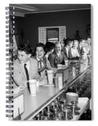 Teens At Soda Fountain Counter, C.1950s Spiral Notebook