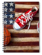 Tennis Shoes And Basketball On Flag Spiral Notebook