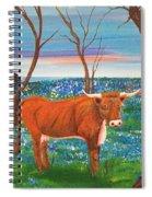 Texas Cow's Blulebonnet Field Spiral Notebook