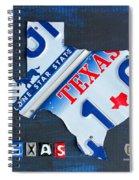Texas License Plate Map Spiral Notebook
